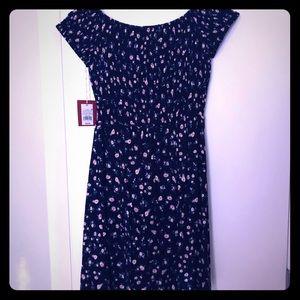 Navy/floral print dress